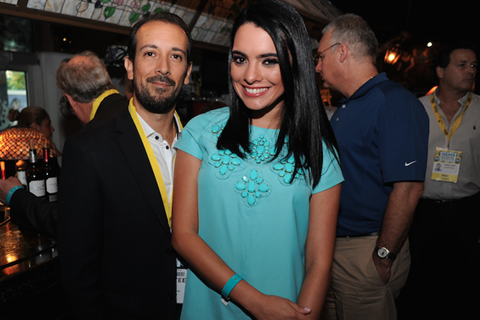 Jose-Antonio Valencia and actress Scarlet Gruber at the GEMS 2015 opening night cocktail reception at Cubaocho
